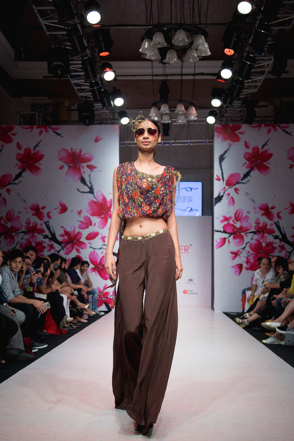 Brown Embellished Top and Palazzo-Indo Western-Pallavi Jaipur