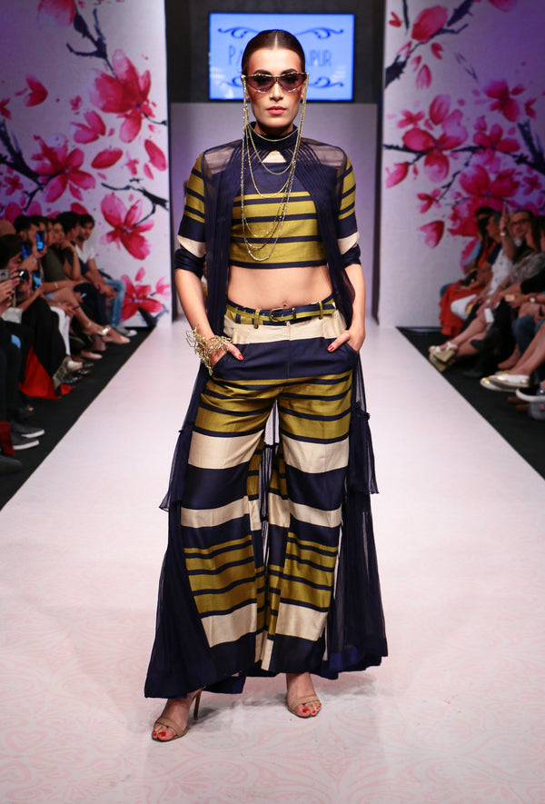 Olive Navy Stripe Crop Top with Pants and Cape-Indo Western-Pallavi Jaipur