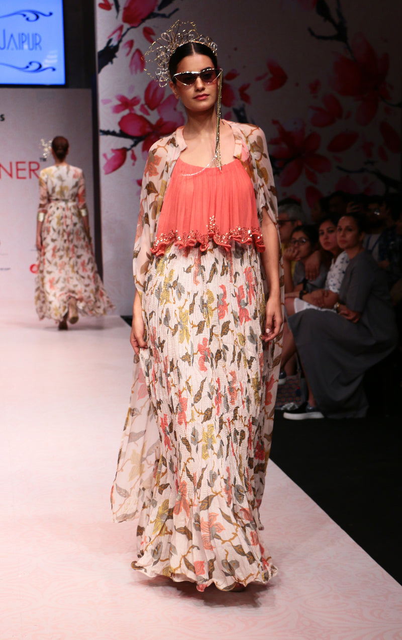 Ivory Maxi Dress with Cape-Indo Western-Pallavi Jaipur