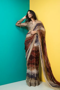 Brown Printed Saree with Belt-Indian wear-Pallavi Jaipur