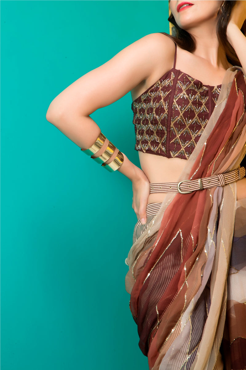 Brown Printed Saree and Corset with Belt