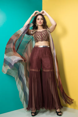 Brown Embroidered Corset,Sharara and Cape Set-Indo Western-Pallavi Jaipur