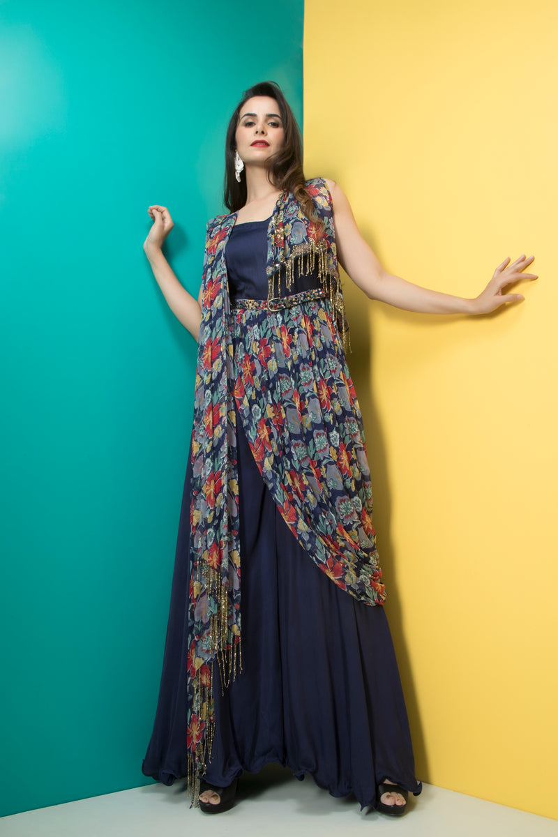 Navy Blue Jumpsuit Saree with Belt-Indo Western-Pallavi Jaipur
