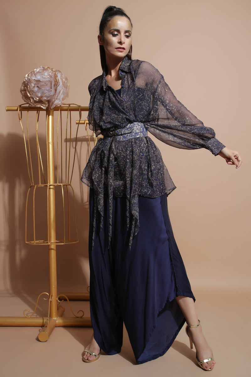 Navy Waterfall Shirt with Drape Pants-Indo Western-Pallavi Jaipur