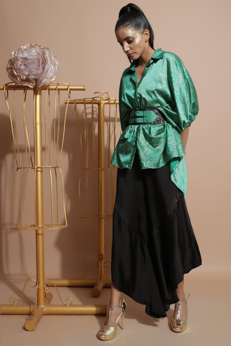 Green Splash Shirt with Frill Pants-Indo Western-Pallavi Jaipur
