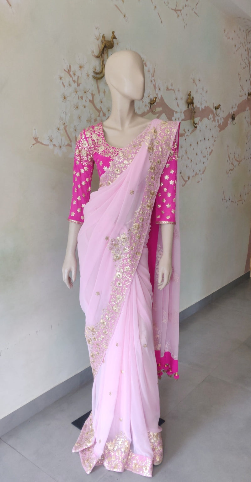 Rose pink Embroidered Saree with Blouse