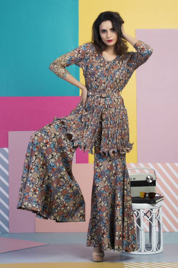 Multi Colored Printed Embellished Tunic With Pants & Belt-Indo Western-pallavijaipur.com