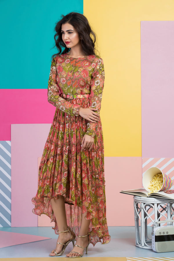 Midi Dress with Belt-Indo Western-Pallavi Jaipur