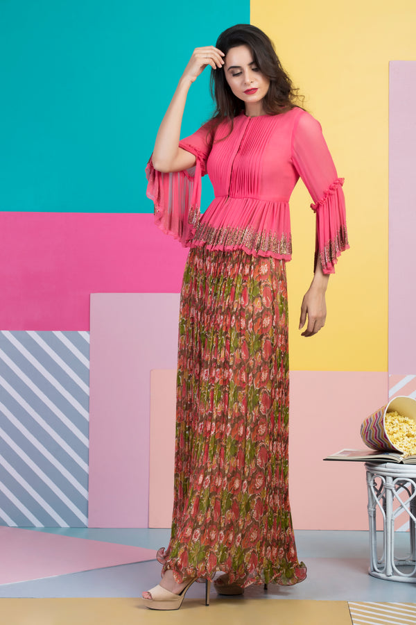 Tucks Top with Chiffon Skirt-Indo Western-pallavijaipur.com