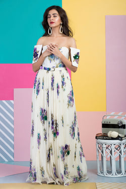 Ivory Maxi Dress With Belt-Indo Western-Pallavi Jaipur