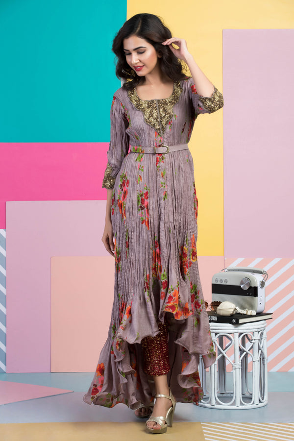 Grey Embroidered Printed Kurta With Pants & Belt-Indian wear-Pallavi Jaipur