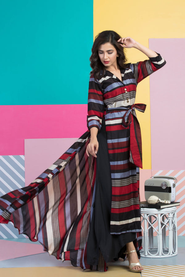 Striped Long Jacket with Black Culottes-Indo Western-Pallavi Jaipur