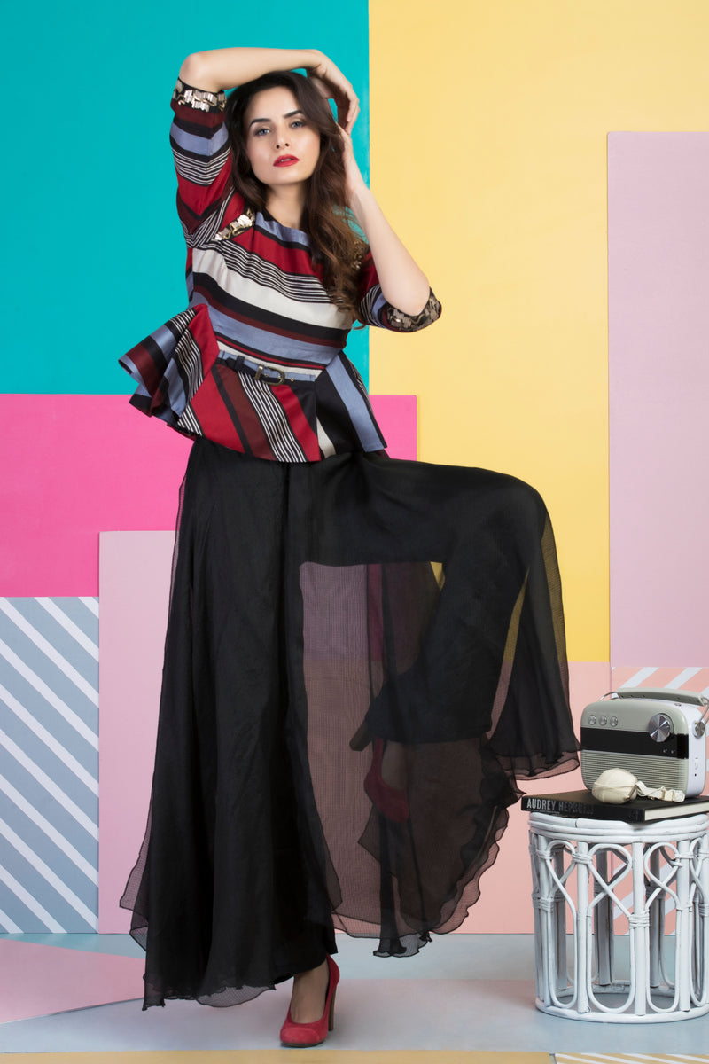 Red Black Striped Peplum Top With Pants-Indo Western-Pallavi Jaipur