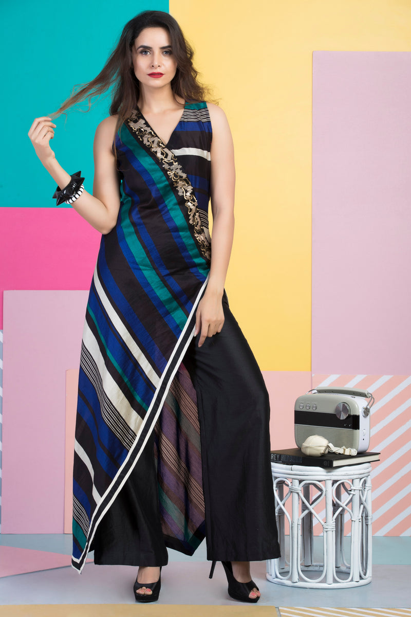 Peacock Blue & Black Printed Kurta With Pants-Indo Western-Pallavi Jaipur