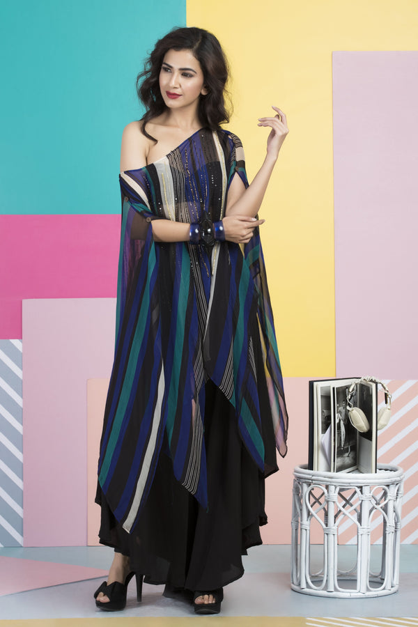 Trishala Sikka in Peacock Blue & Black Printed Cape-Indo Western-Pallavi Jaipur