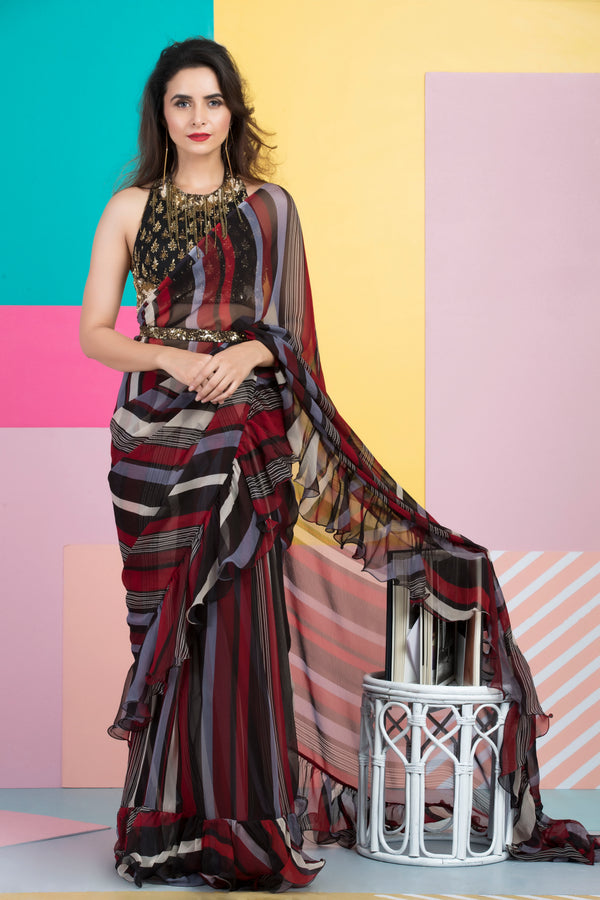 Red Black Printed Saree with Embroidered Blouse-Indian wear-Pallavi Jaipur