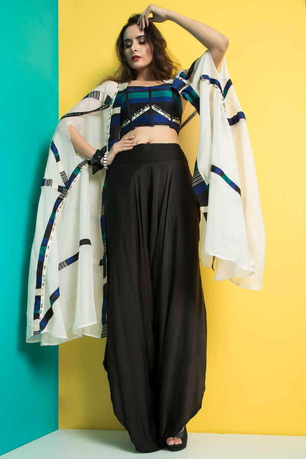 Ivory Peacock Cape with Gaucho Pants-Indo Western-Pallavi Jaipur