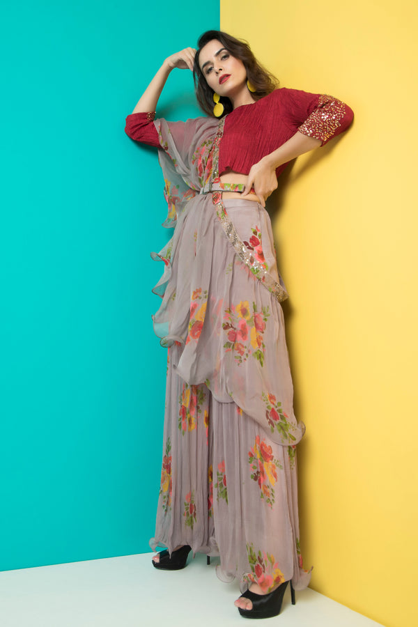 Grey Sharara with Maroon Crop Top-Indo Western-Pallavi Jaipur