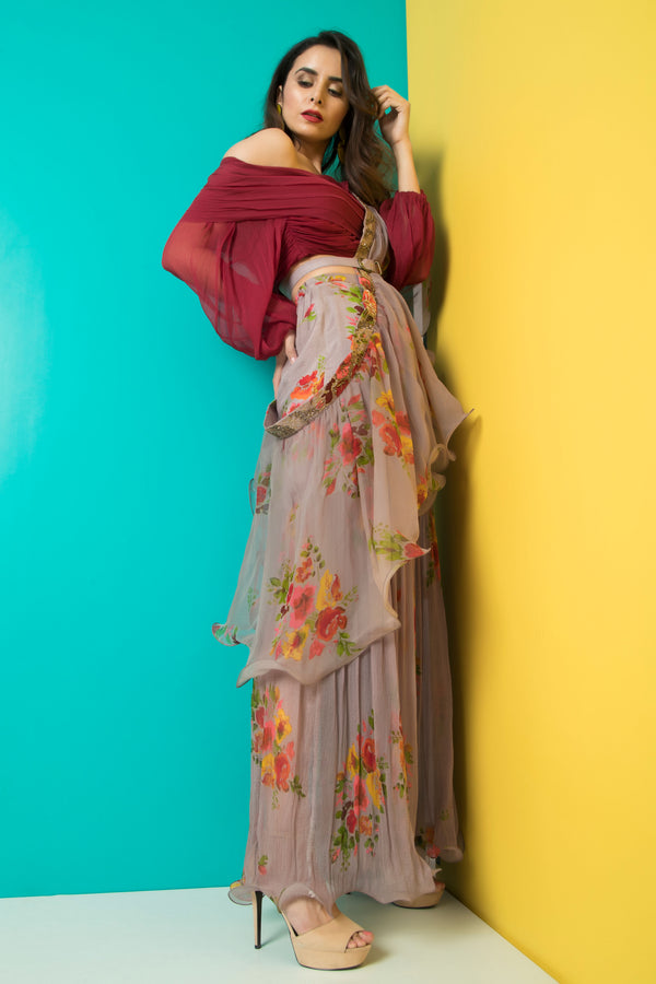 Grey Sharara with Maroon Pleated Crop Top-Indo Western-Pallavi Jaipur