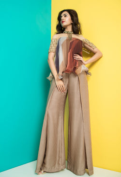 Brown Glass Sleeve Top with Fold Pants-Indo Western-Pallavi Jaipur
