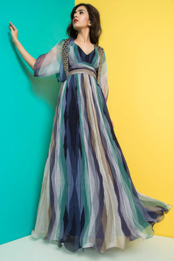 Navy jade Long Dress with Embroidered Cape-Western-Pallavi Jaipur
