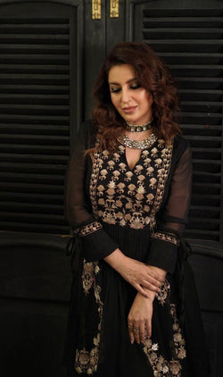 Tisca Chopra in Black Zardosi Layered Long Dress-Indian wear-Pallavi Jaipur