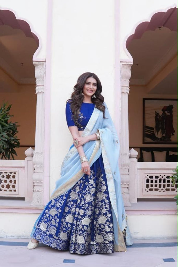 Karishma Tanna in Blue Ombre lehenga set