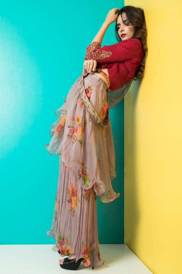 Grey Sharara with Maroon Crop Top-Indo Western-pallavijaipur.com