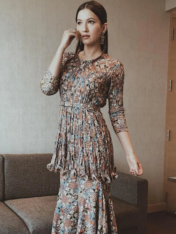 Gauhar Khan in Printed Embellished Tunic With Pants & Belt-Indo Western-Pallavi Jaipur