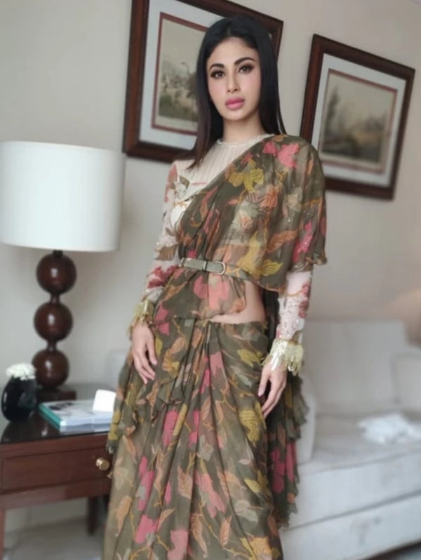 Mouni Roy in Dark Green Chiffon Saree with Belt-Indian wear-Pallavi Jaipur