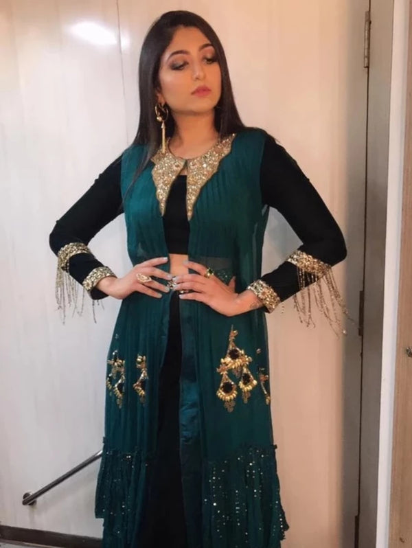 Bhoomi Trivedi in Bottle Green Crop Top Jacket Set-Indian wear-Pallavi Jaipur