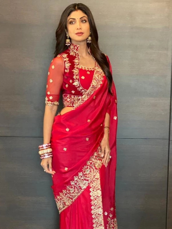 Shilpa Shetty in Red Silk Embroidered Saree-Indian wear-Pallavi Jaipur