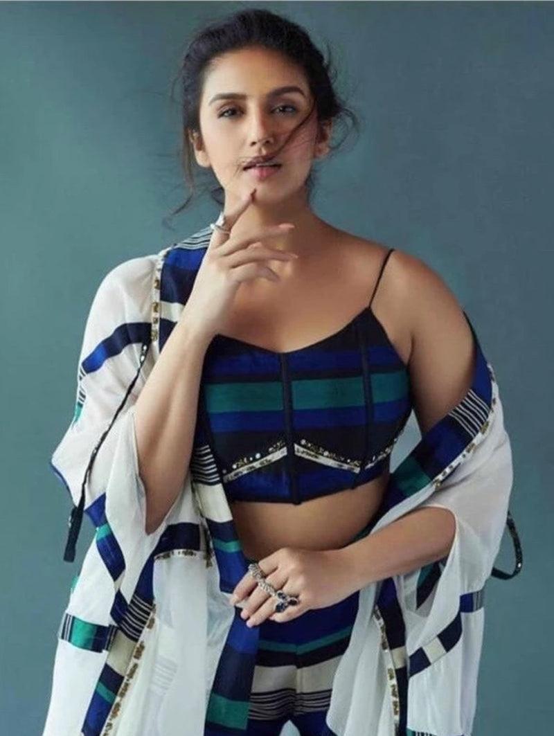 Huma Qureshi in Blue Black Cape with Corset and Pants-Indo Western-Pallavi Jaipur