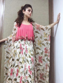 Riddhi Dogra in Ivory Maxi Dress with Cape-Indo Western-Pallavi Jaipur