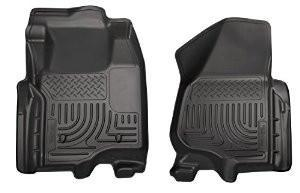 2011-2012 Ford Super Duty Crew & Extended Cab WeatherBeater Front Row Black Floor Liners by Husky Liners (18731) - Modern Automotive Performance