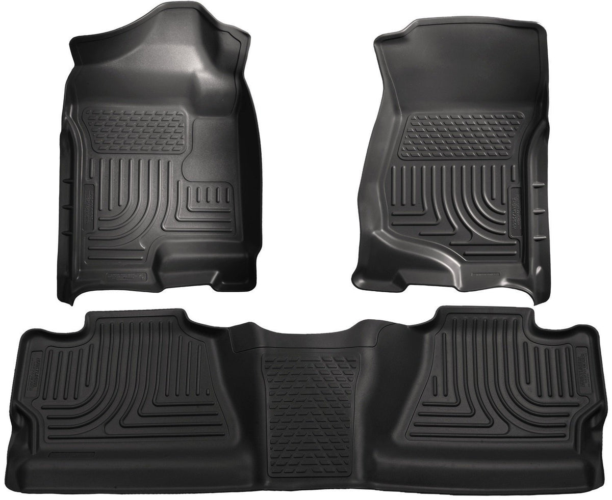 2007-2012 Chevy Silverado/GMC Sierra Crew Cab WeatherBeater Combo Black Floor Liners by Husky Liners (98201) - Modern Automotive Performance