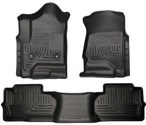 2014 Chevrolet Silverado/GMC Sierra Dbl Cab WeatherBeater Black Front&2nd Seat Floor Line by Husky Liners (98241) - Modern Automotive Performance