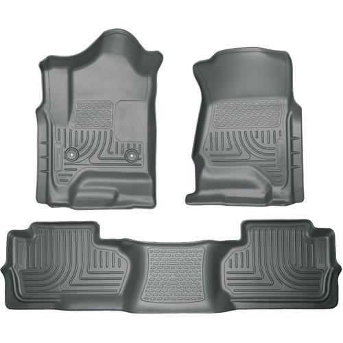 2014 Chevrolet Silverado/GMC Sierra Dbl Cab WeatherBeater Grey Front&2nd Seat Floor Liner by Husky Liners (98242) - Modern Automotive Performance