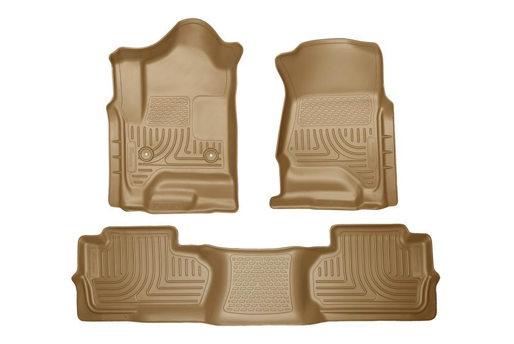 2014 Chevrolet Silverado/GMC Sierra Dbl Cab WeatherBeater Tan Front&2nd Seat Floor Liners by Husky Liners (98243) - Modern Automotive Performance