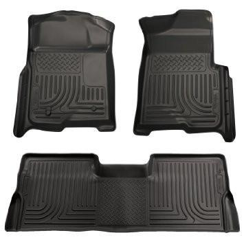 2008-2010 Ford SD Crew Cab WeatherBeater Combo Black Floor Liners (w/o Manual Trans Case) by Husky Liners (98381) - Modern Automotive Performance