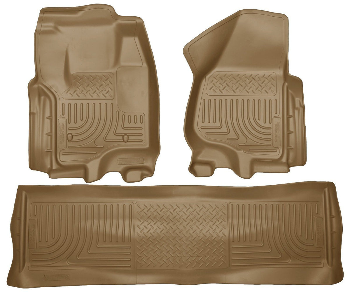 2012 Ford SD Crew Cab WeatherBeater Combo Tan Floor Liners (w/o Manual Trans Case) by Husky Liners (99713) - Modern Automotive Performance