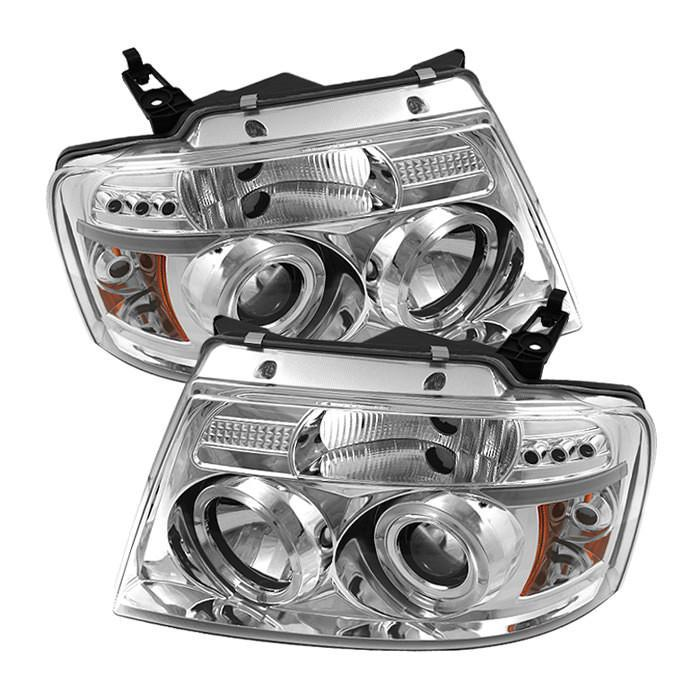 Spyder Auto  Ford F150 04-08 Projector Headlights - Version 2 - LED Halo - LED ( Replaceable LEDs ) - Chrome - High H1 (Included) - Low 9006 (Included) - Modern Automotive Performance