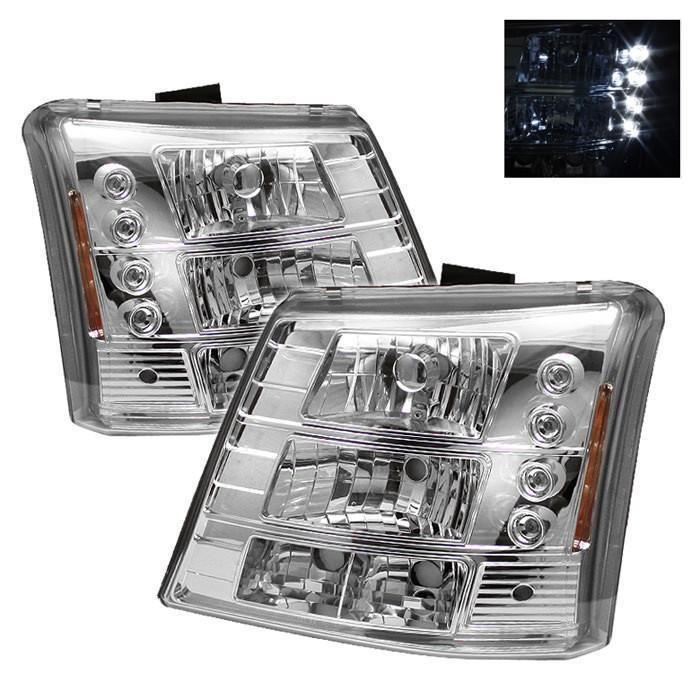 Spyder Auto Chevy Silverado 1500/2500/3500 03-06 / Chevy Silverado 1500HD 03-07 / Chevy Silverado 2500HD 03-06 1PC W/ Bumper Lights ( Require GRI-SP-CS03-CT Grille ) LED ( Replaceable LEDs ) Crystal Headlights - Chrome - Modern Automotive Performance