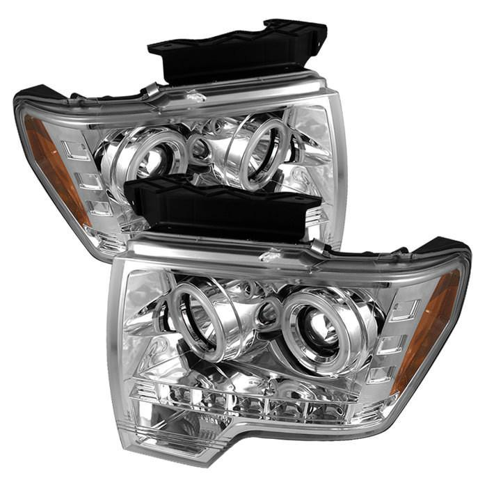 Spyder Auto  Ford F150 09-14 Projector Headlights - Halogen Model Only ( Not Compatible With Xenon/HID Model ) - CCFL Halo - LED ( Replaceable LEDs ) - Chrome - High H1 (Included) - Low H1 (Included) - Modern Automotive Performance