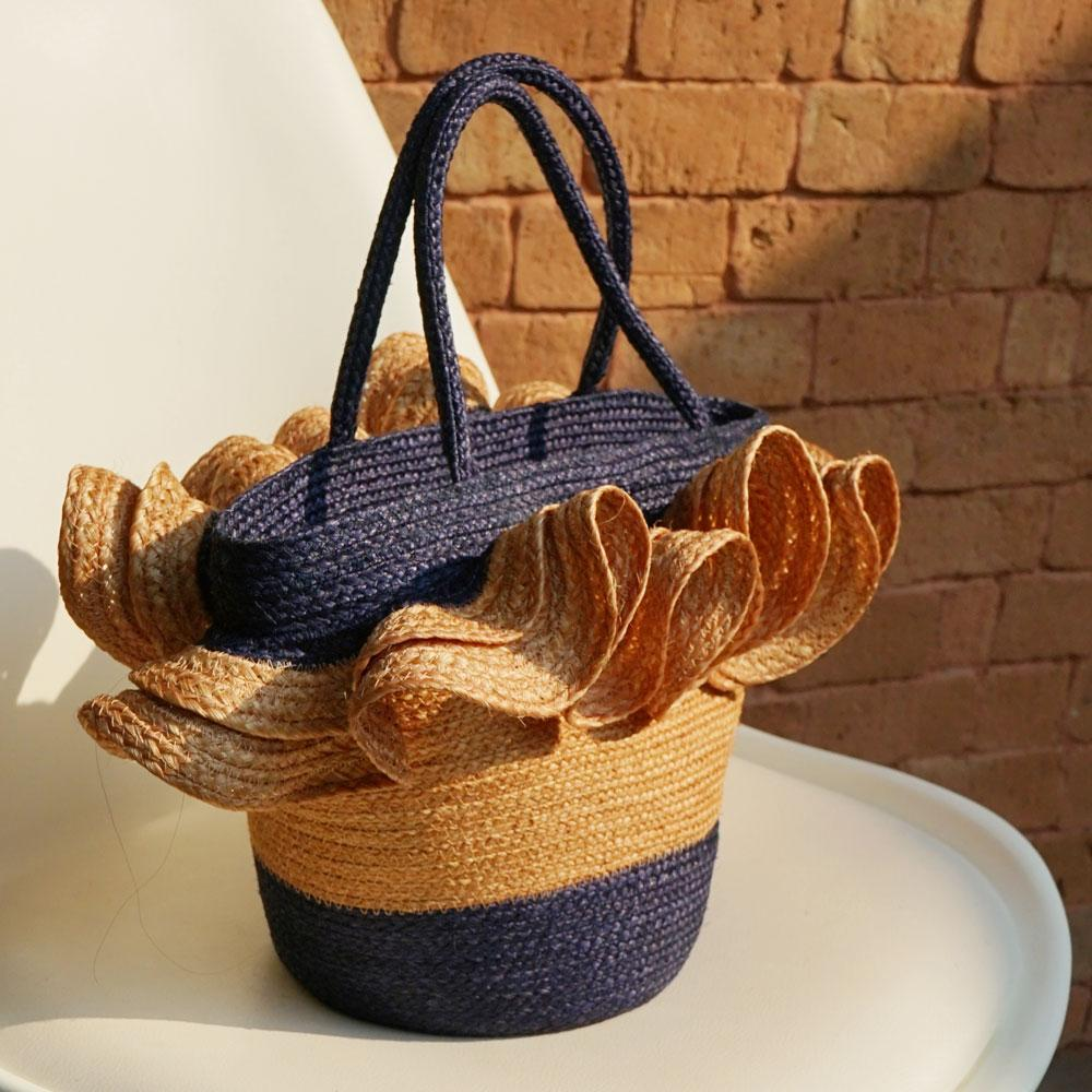TAKTAI Bag Blue Two Tone Frill Hand Woven Sisal Bag