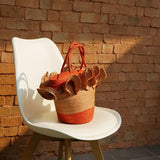 TAKTAI Bag Orange Two Tone Frill Hand Woven Sisal Bag