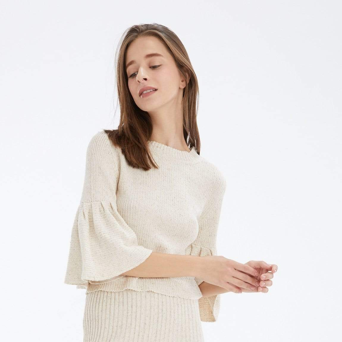 TAKTAI Blouse Ruffle Short Sleeve Knitted Blouse