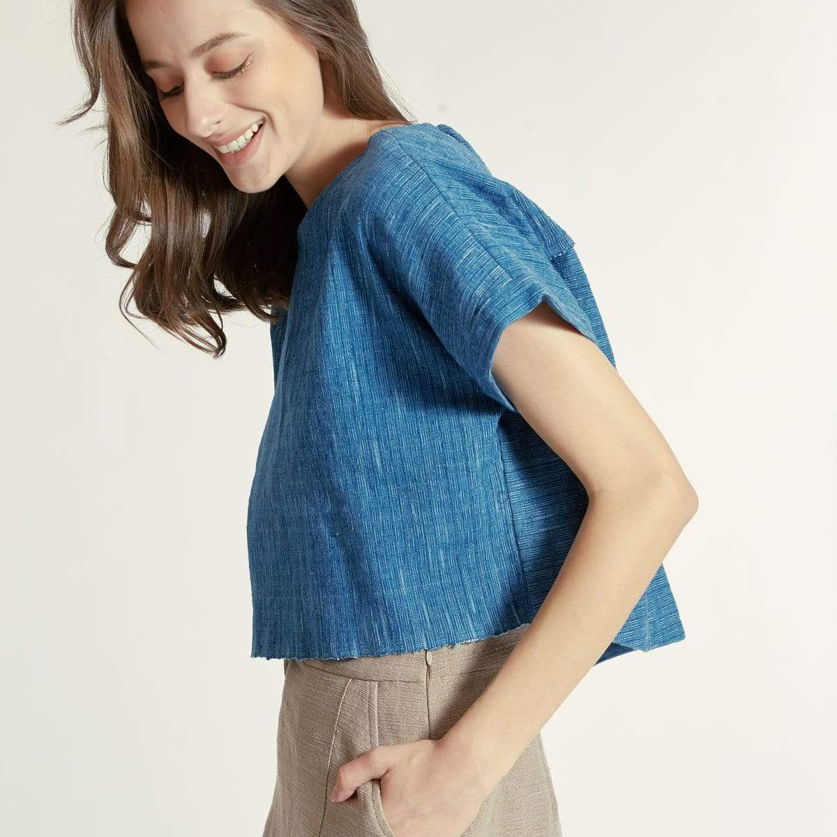 TAKTAI Blouse S / Blue Bamboo Basic Blouse