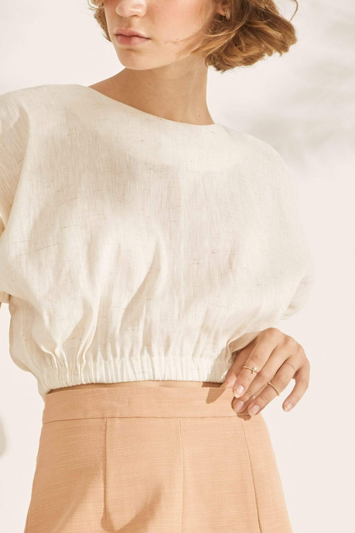 TAKTAI Blouse S / Natural Balloon Sleeve Crop Top