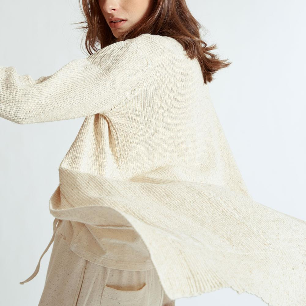 TAKTAI Cardigan F / Natural Bamboo Long Sleeve Cardigan